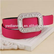 new arrival 2014 womens crystal buckle belt, fancy top grain leather belt