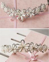 Bridal Hair Decoration Pearl Beads Flower Rhinestone Hair Tiaras And Crowns