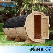 Hot selling imported Canadian hemlock barrel shape outdoor portable freestanding dry sauna room