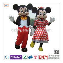 2014 superior de la venta adultos mickey y minnie mouse traje de la mascota con precio promocional
