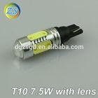 High lumen chip quality t10 7.5w with lens led car bulb