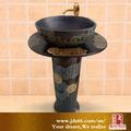 china estilo material de cerámica vidriada en miniatura de caligrafía de lavado pedestal para fregadero cuarto de baño