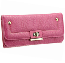 New synthetic leahter womens wallet with lock, Pu best ladies purse , fashion MK wallet to import from China manufacturer