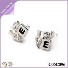 cute small rhinestone fashion girls alloy newest design E letter stud earrings