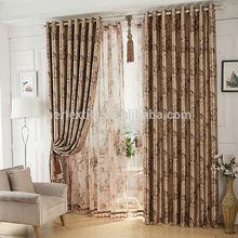elegant gold printed luxury suede nap blackout curtain