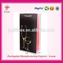 Cheap paper packaging box for wine bottle carrier customer logo wine bag