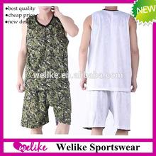 Reversible camouflage camo basketball uniform white blank basketball jersey and shorts