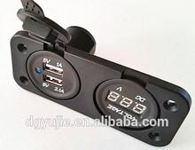 Power Panel Voltmeter & DUAL USB 5V 2.1A CHARGER FLUSH MOUNT SOCKET 12V Volt