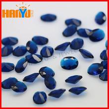 Beautiful blue oval cut handmade glass bead