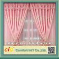 rosa de tule bordado cortina de tecido
