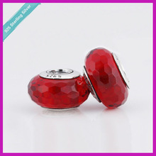 S925 Silver Transparent Red Faceted Murano Glass Beads For Troll Bracelet