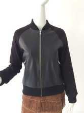 Ladies standing collar baseball leather jacket with punch sleeve
