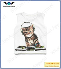Hot sale lovely cat printing childs sleeveless tee shirt cheap price