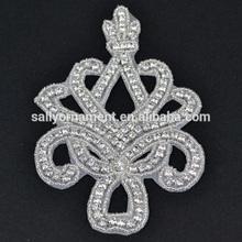 Wholesale crystal rhinestone bridal sash applique patch