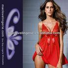 ML2136 New Arrival Lace Bust Women Sexy Nighty Dress Red Sexy Mature Sleepwear
