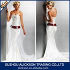 2014 Unique Mermaid Ruffle Corset Lace Up White Wedding Dress Red Ribbon