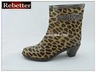 2014 new transparent leopard design ladies high heel cheap PVC boots, PVC rain boots, plastic boots
