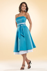 Nice-looking Strapless A Line Tea Length Satin Sash Bridesmaid Dress White And Blue