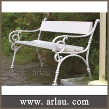 FW85 Antique cast iron leg wooden garden bench with backrest