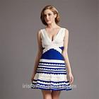 Deep V neck royal blue and white wedding dress short puffy dres