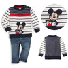 Mickey embroider creen vintage children clothing wholesale , winter wool clothes design