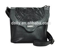 black matured design fur decorated lady sling handbag