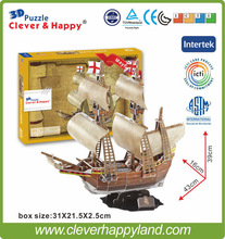 2015 hot sales Mayflower ship paper 3d puzzle model kid games boat toys kids or adult model