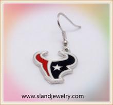 Hot sale zinc alloy enamel houston texans charm dangling earrings