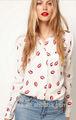 retro lábio vermelho impressão novo design manga longa camisa das senhoras