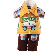 TCJ12030 2014 winter baby clothes cartoon monkey thickened lamb fleece baby boy cotton-padded jacket wholesale
