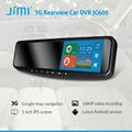 jimi 2014 nuevo 3g inteligente espejo retrovisor doubl dvr de google mapas gps de seguimiento de coche systeme hd de la cámara del dvr