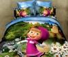 cartoon design kid bed sheet set with Masha and bear patterns