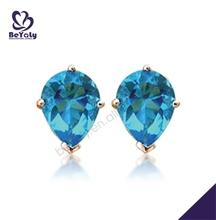 Beautiful blue stone silver studs protektor earring backs