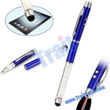 High Sensitive Crystal Stylus Ball Point + Laser Light+Led Flashlight Touch Pen For mobile phone tablet