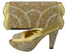 glitter rhinestone gold wedding shoes bridal shoes and matching bags