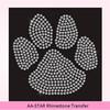 Paw Animal Dog Cat Rhinestone Diamante Transfer Iron On Hotfix Gem Motif Patch