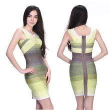 sexy beautiful mature ladies yellow ombre grey short bandage dresses