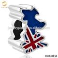 بلد العلم البريطاني فضةيتم خريطة المملكة المتحدة لاكي الخرزة السحر الأوروبي للمجوهرات