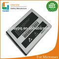 China proveedor Big Li ion 1600 mAh batería recargable para Micromax teléfonos móviles A76