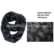 camera printed snood neck scarf ,hot wholesales scarves 2014