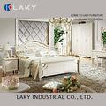 605# luxo real neoclássico mobília do madeira maciça Perl branco escultura em madeira Bed Night Stand Dresser Wardrobe jogo de