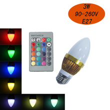 High quality 3W RGB with 16 Colors Remote Control led candle bulb