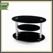 chrome oval glass tv stand lift cabinet bracket