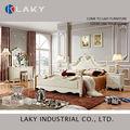 5# luxo francês neo clássico mobília do quarto branco europeu royal rococó cama set