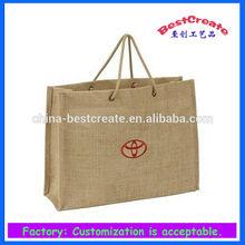 Factory environmental drawstring jute promotion shopping bags with custom logo