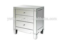 unique design mirrored nightstand, silver nightstand,mirror furniture