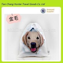 high quality dog print drawstring backpack,cute dog drawstring bag