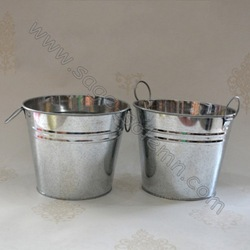 Galvanized Metal Round Flower Bucket Pot with Ears