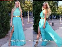 2014 New Fashion maxi chiffon Long dress Creased Sexy & Club dress Party dress