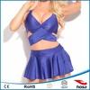 competitive price navy halter skirted bikini